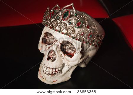 Skull with a diadem with large stones. Gothic concept