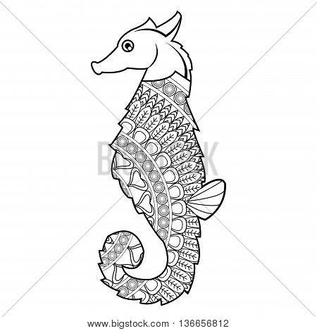 simple flat design mandala seahorse icon vector illustration , coloring animal