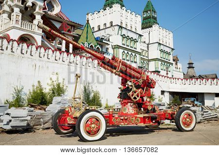 MOSCOW, RUSSIA - JULY 27, 2015: Cannon painted in the traditional Russian Khokhloma style at Izmailovo Kremlin in Moscow.