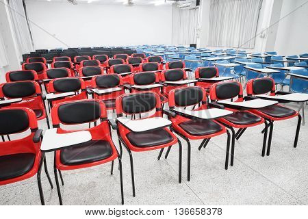 Lecture chairs in a classroom in the university