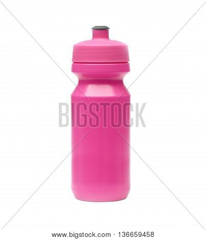 Bicycle water bottle in magenta color isolated