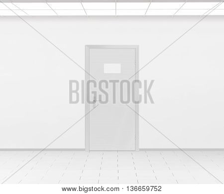 Blank name plate design mockup handing on door 3d render. Door sign mock up template on entry in cabinet. Office hall interior with nameplate on door. Clear closed door signage plate. Room signplate