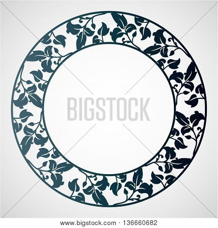 Openwork circular frame with leaves. Laser cutting template for greeting cards envelopes wedding invitations decorative elements.