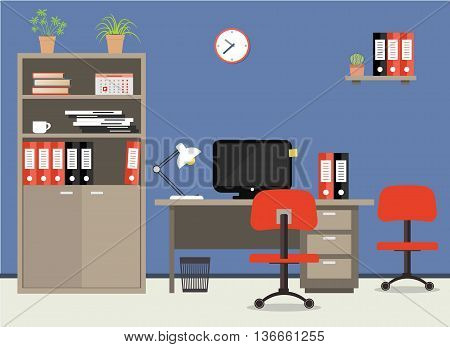 Workplace of office worker. Vector flat illustration. On the picture the desktop, case for documents, a chairs, the  computer, folders, a lamp and other objects in red colors are represented