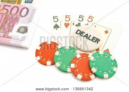 Four Cards, Euros And Plastic Chips
