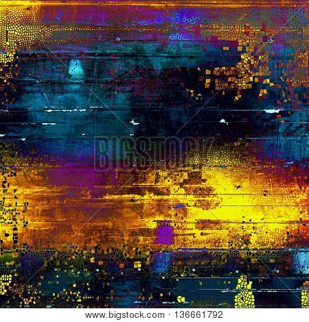 Sharp textured background, aged vintage backdrop with grungy style elements and different color patterns: yellow (beige); brown; black; blue; red (orange); purple (violet)