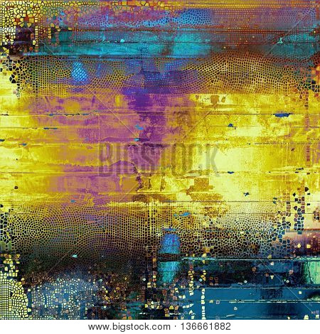 Vintage and retro design elements on faded grunge background. With different color patterns: yellow (beige); brown; black; blue; red (orange); purple (violet)