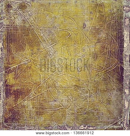 Grunge texture, aged or old style background with retro design elements and different color patterns: yellow (beige); brown; gray; purple (violet); pink