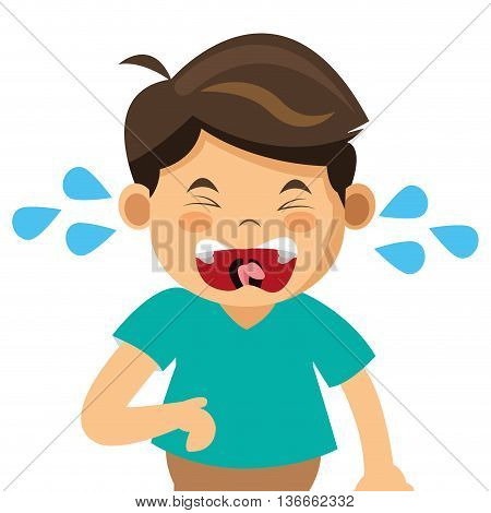 simple flat design crying boy icon vector illustration