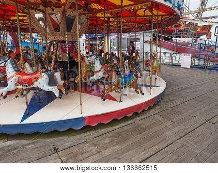 Merry Go Round On Pleasure Beach Pier In Blackpool