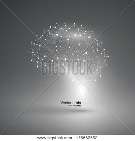 Abstract brain graphic,points and lines connected to form, vector illustration