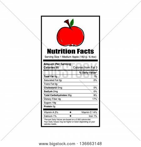 nutrition facts apple value illustration on white