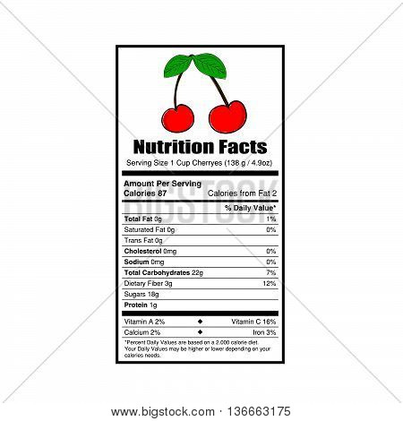 nutrition facts cherry value illustration on white