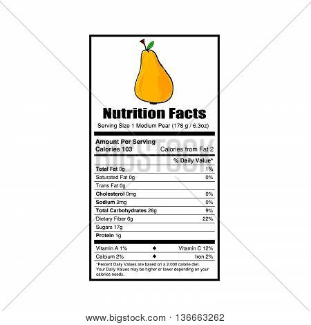 nutrition facts pear value illustration on white