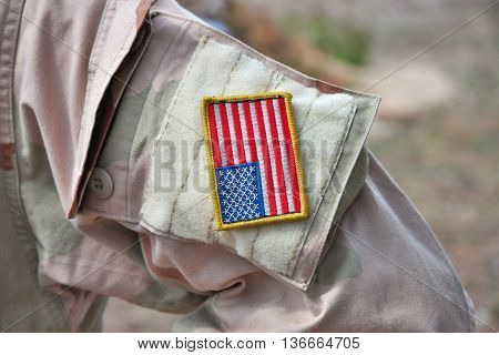 Element of a US army uniform - sleeve patch flag