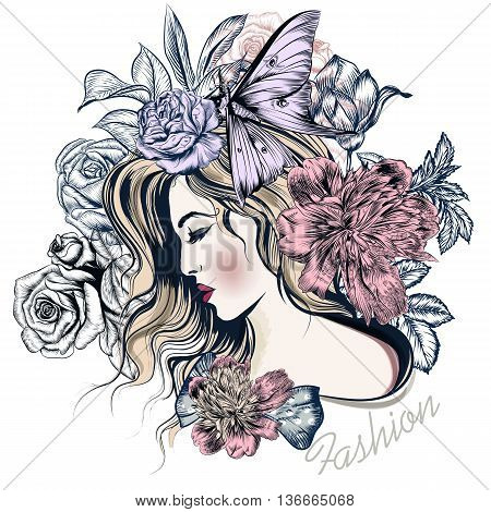 Fashion vector illustration with beautiful young long hared woman and flowers on her head