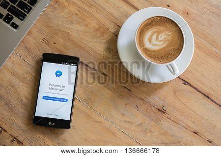 CHIANG MAI THAILAND - JUN 19 2016: Screen shot Messenger application using LG G4. Messenger is chat application from facebook.