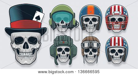 high detailed had drawn  skulls with removable headgears
