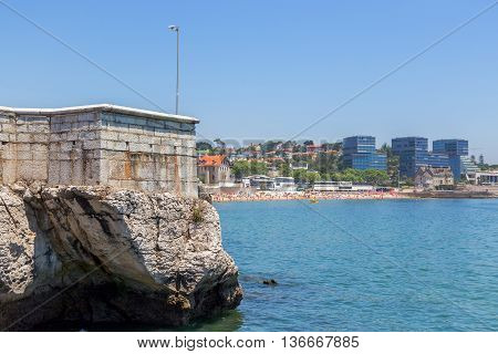 View From Sea On Coast With City