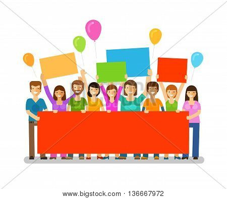 Friends with congratulatory banner in hands. Holiday. Happy birthday. Corporate party, celebration or festival vector icon