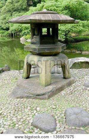 Japanese Outdoor Stone Lantern In Zen Garden