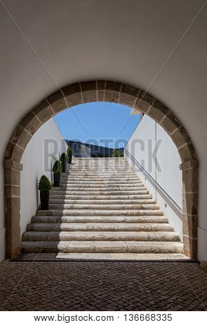 tunnel arch with ladder from stones in old bastion