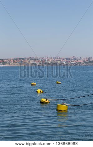 Yellow Parking Floats In Marine On Coast