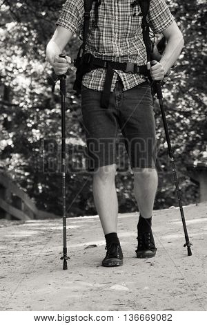 Survival nordic walking relax leisure trip holidays concept. Man hiking in forest. Young male alone on outdoor trip.
