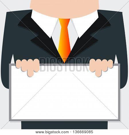 Businessman holding signs For text input, Cartoon Vector