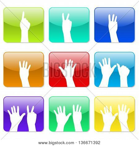 White hands counting from 1 to 9 with fingers icon illustration