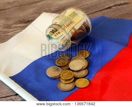 Money on the Russian flag. Russian money.