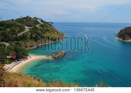 Phuket Beach, Tropical Island And Sea View. Thailand Summer Nature. Ya Nui Near Promthep Cape