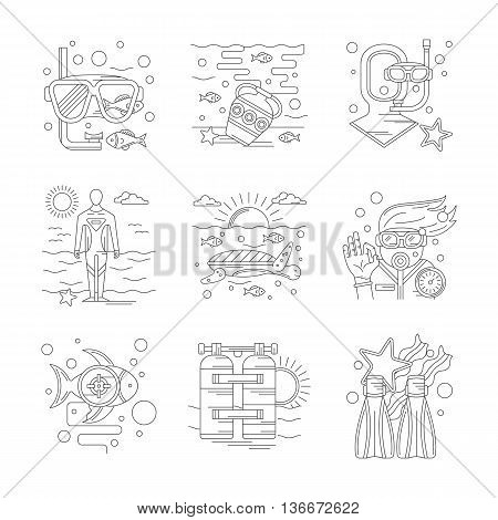 Summer tropic vacation with active leisure. Scuba diving outfit and accessories. Underwater world research. Set of detailed flat line vector icons. Web design elements.