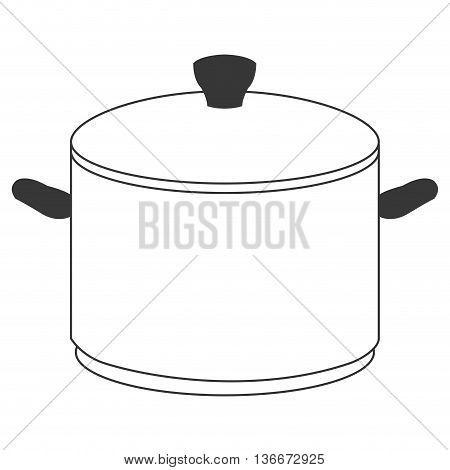 simple line design cooking pot icon vector illustration