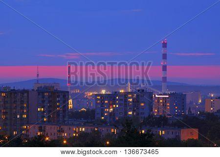 Night shot of cityscape. Kielce, Poland, Holy Cross Mountains.