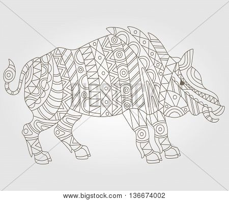 Illustration of abstract contour of a wild pig on white background