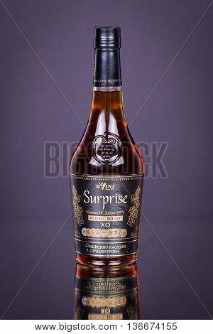 SHEPETOVKA UKRAINE - JUNE 21 2016: Cognac KVINT made on the Tiraspol Wine Cognac factory