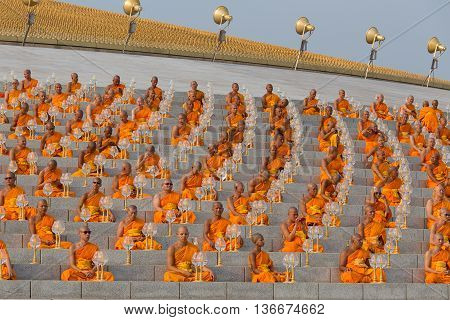 BANGKOKTHAILAND - FEBRUARY 22 2016: Unidentified Thai monks during Buddhist ceremony Magha Puja Day in Wat Phra Dhammakaya