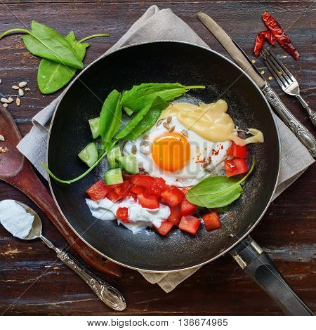 Fried Eggs Pan Healthy Protein Color Breakfast