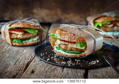 Homemade Hamburgers Pork Cheese Vegetables
