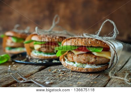 Homemade Burgers Pork Vegetable Wooden Background