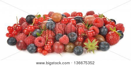 Various berries isolated on white background close up