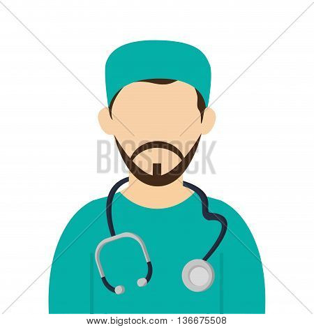 simple flat design medic or doctor with surgery and stethoscope outfit icon vector illustration