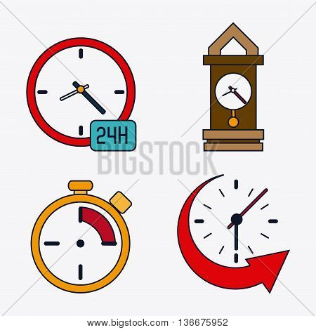 Time concept represented by icon set of colorfull Clocks. Isolated and flat illustration