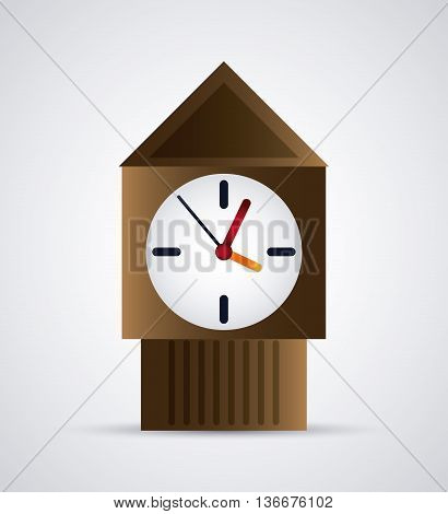 Time concept represented by colorfull wood Clock icon. Isolated and flat illustration