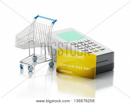 3d renderer image. Credit card and card reader with shopping cart. Shopping concept. Isolated white background.