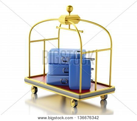 3d renderer image. Baggage cart with blue suitcases. Isolated white background.