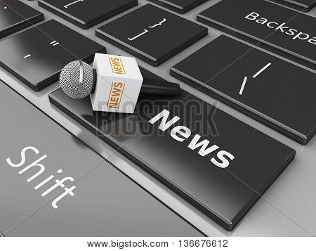 3d renderer image. News microphone and computer keyboard with word News.