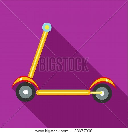 Kick scooter icon in flat style on a fuchsia background