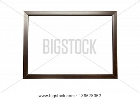 Isolated blank black wooden picture frame on a white background. Classic frame